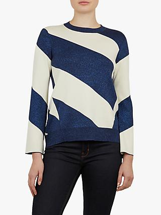 Ted Baker Danyeil Glitter Colour Block Jumper, Navy/White
