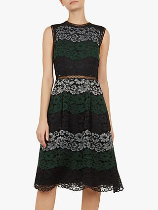 Ted Baker Inarra Lace Tunic Dress, Black/Green