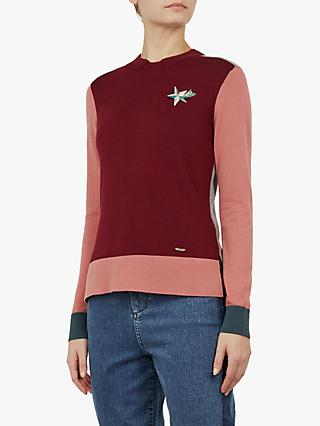 Ted Baker Colour By Numbers Esmeia Colour Block Jumper, Dark Red/Multi