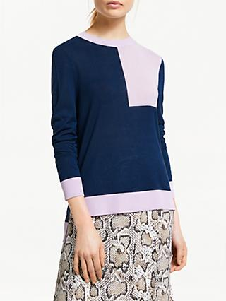 Finery Roux Knitted Jumper, Navy/Lilac