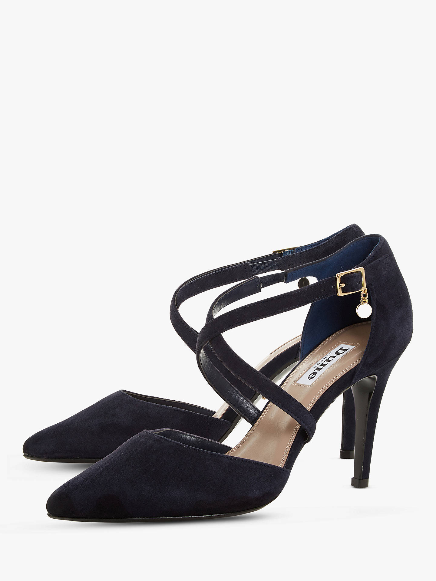 Buy Dune Clancy Suede Cross Strap Pointed Toe Court Shoes, Navy, 3 Online at johnlewis.com