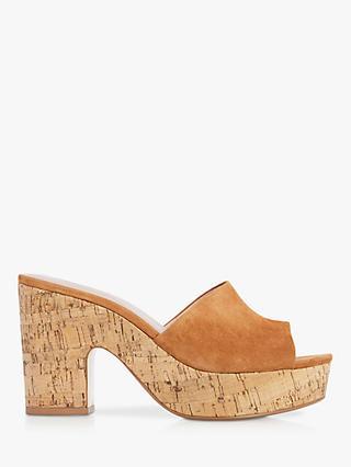 cc5d9111dd99d Dune Indigow Cork Heel Mule Sandals