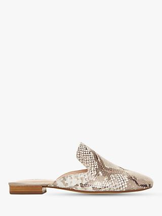 Dune Gerii Slip On Mules, Reptile Print Leather