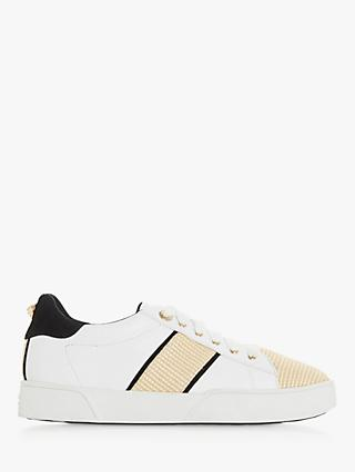 Dune Elsie Lace Up Trainers, Leather Natural