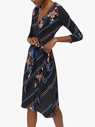 Warehouse Floral Midi Wrap Dress, Black