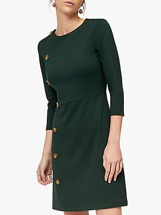 Warehouse Button Side Dress, Dark Green