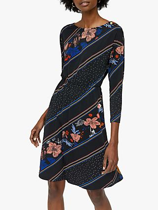 Warehouse Floral Stripe Dress, Black