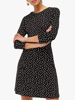 Warehouse Polka Dot Button Dress, Black