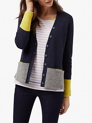 White Stuff Scandi Colour Block V-Neck Cardigan, Navy Mix
