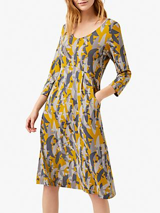 White Stuff Jana Abstract Print Flared Dress, Yellow/Multi