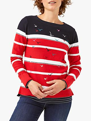 White Stuff Flocking Birds Jumper, Red/Multi