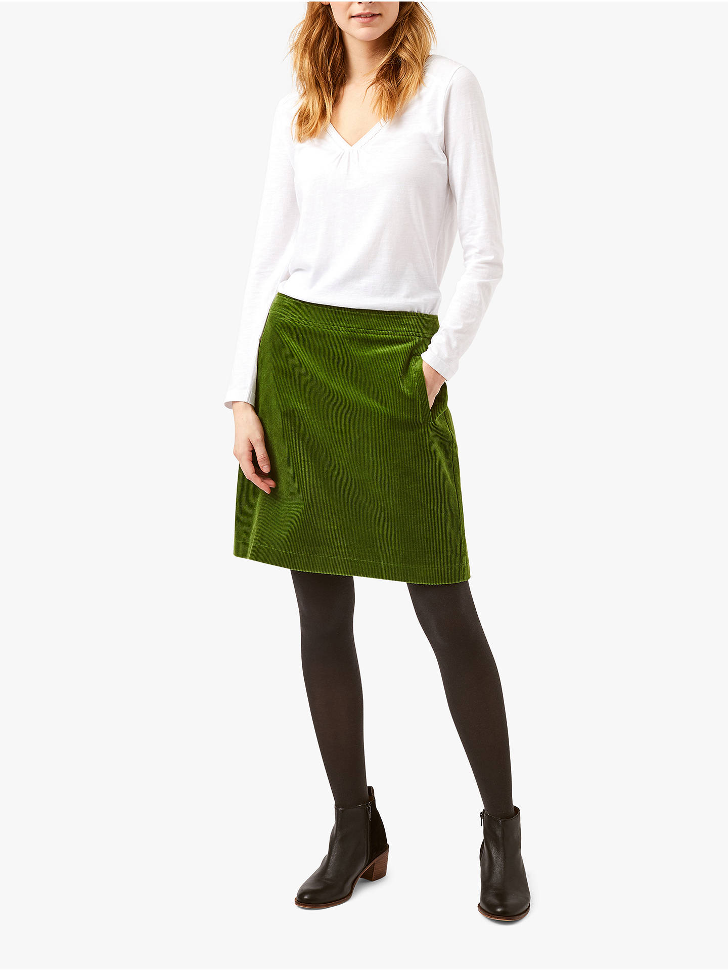 af6e3b7dad Buy White Stuff Iris Cord A-Line Skirt, Green, 16 Online at johnlewis ...
