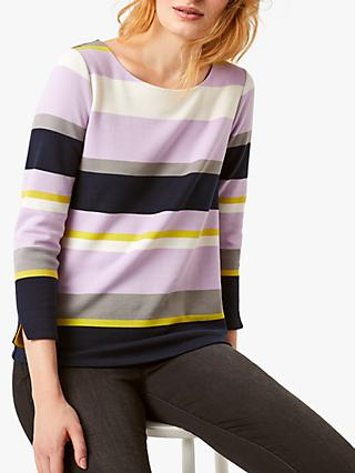 White Stuff Caramel Stripe Top, Navy Stripe