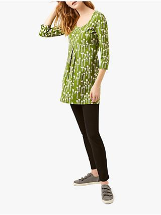 White Stuff Pippy Floral Cotton Jersey Tunic Top, Ivy Green