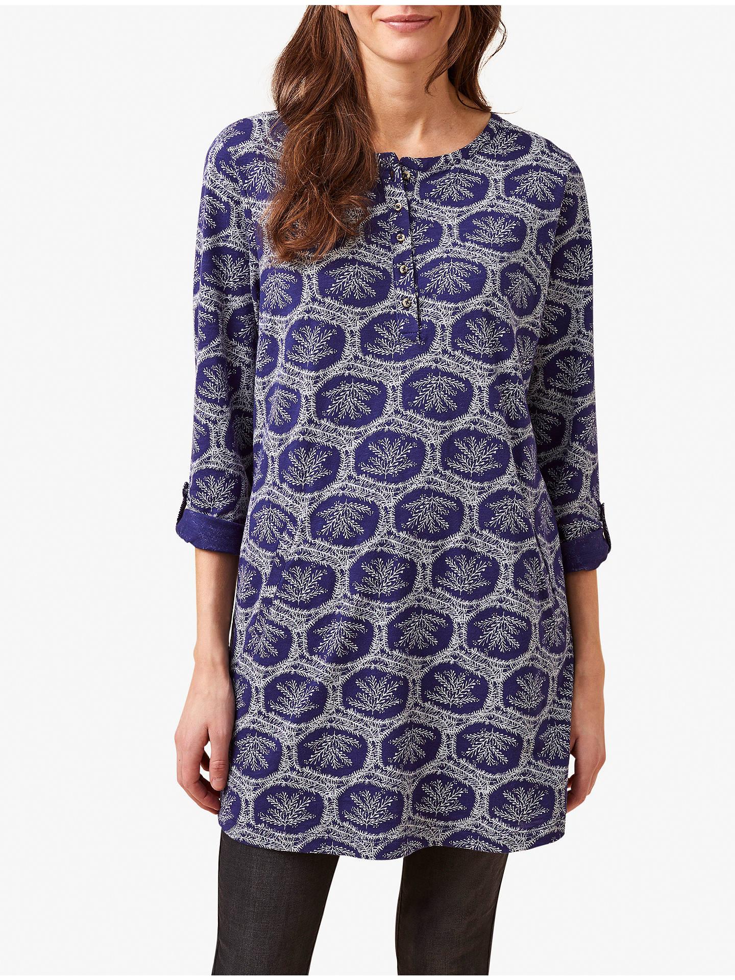 White Stuff Halles Printed Tunic Dress, Velvet Blue Print at