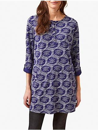 White Stuff Halles Printed Tunic Dress, Velvet Blue Print