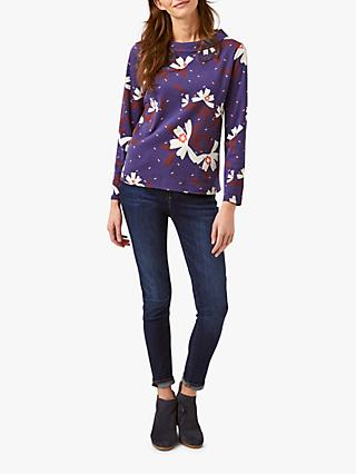 White Stuff Story Jersey Top, Violet Blue Print
