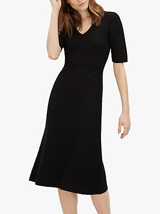 Jaeger Contrast Ribbed Wool Knitted Dress, Black