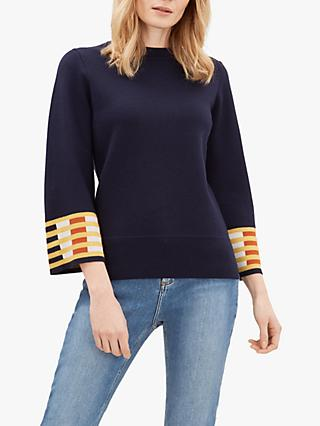 Jaeger Contrast Scale Wool Jumper, Navy