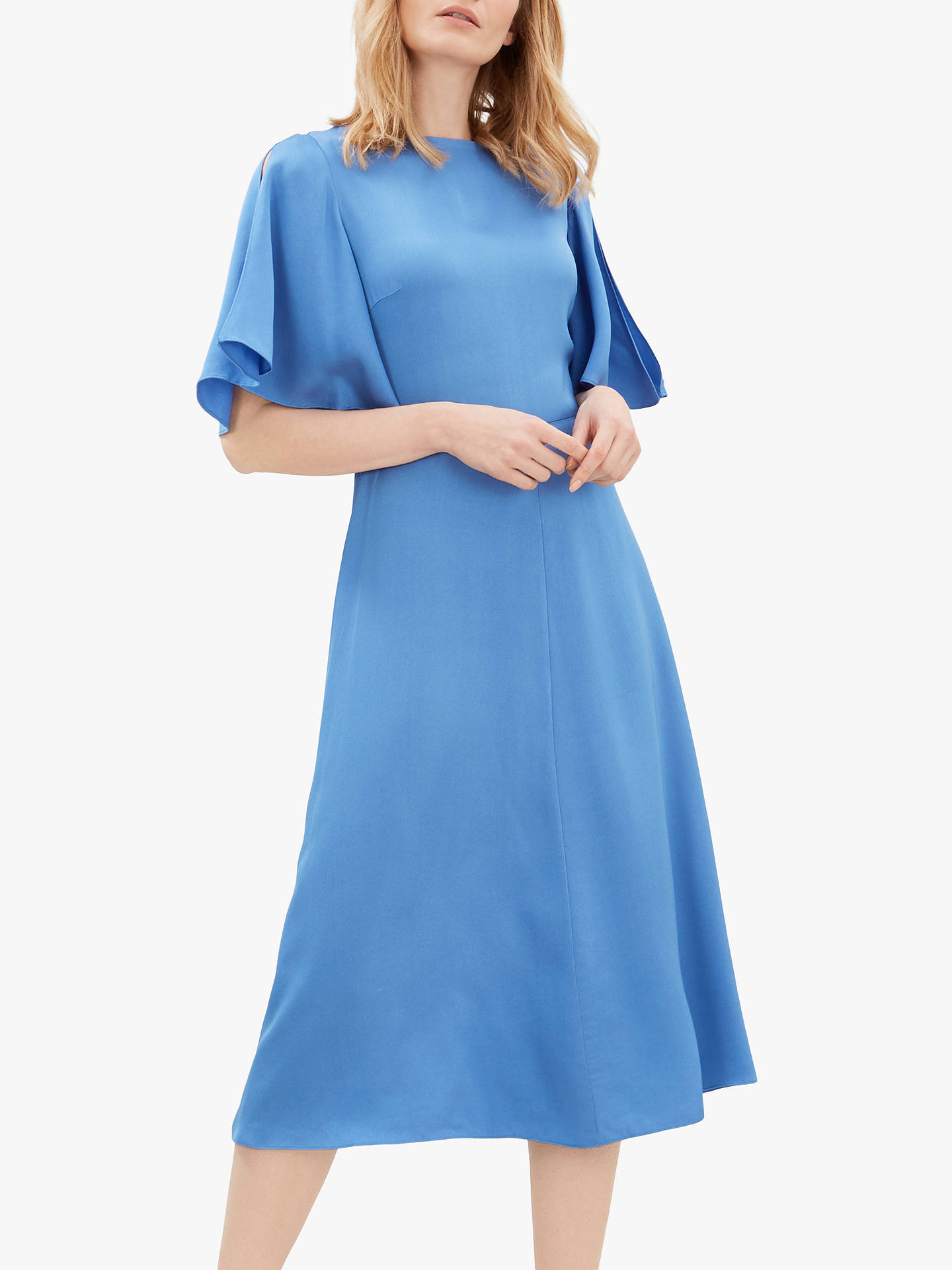 Jaeger Fit And Flare Dress Blue At John Lewis Partners Front is designed to be tied up at the waist. jaeger fit and flare dress blue at