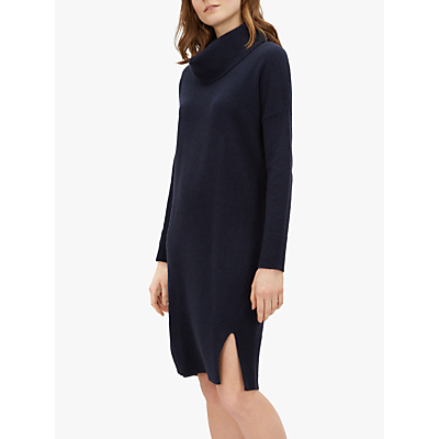 Jaeger Wool-Cashmere Cowl Neck Knitted Dress, Navy