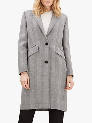 Jaeger Prince Of Wales Check Coat, Black