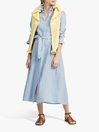 a20701ec03 Polo Ralph Lauren Linen Stripe Midi Shirt Dress