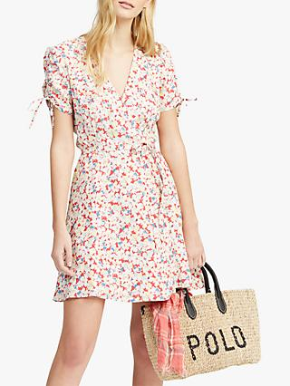 Polo Ralph Lauren Floral Crepe Wrap Dress, Sakura Floral