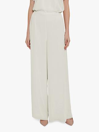 Gina Bacconi Wide Leg Side Slit Chiffon Trousers, Butter Cream
