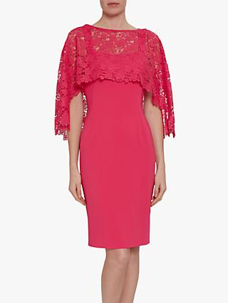 Gina Bacconi Catriona Crepe Dress With Lace Overcape