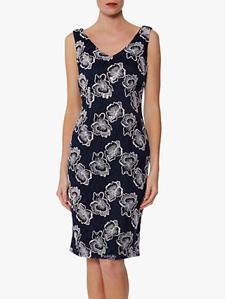 Gina Bacconi Amoria Embroidered Lace Shift Dress, Spring Navy