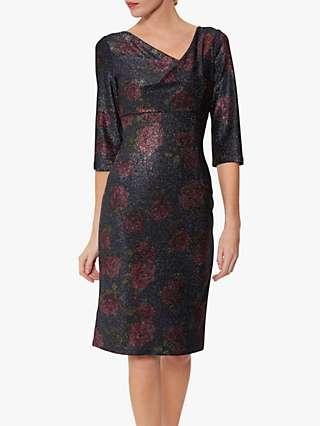 Gina Bacconi Abriella Metallic Jersey Dress, Navy/Pink