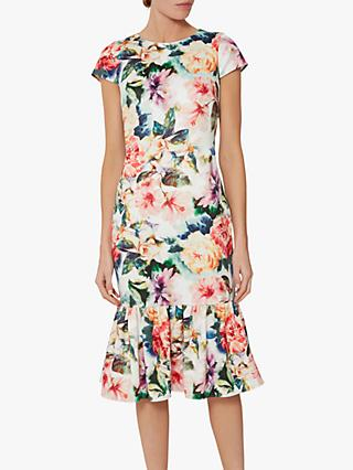 Gina Bacconi Seanna Floral Peplum Dress, Poppy Red/Multi