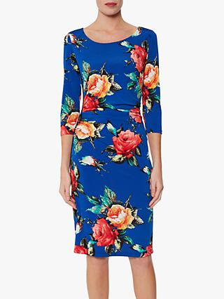 Gina Bacconi Yanina Floral Dress, Royal Blue/Multi