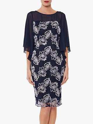 Gina Bacconi Ariana Embroidered Chiffon Cape Dress, Spring Navy