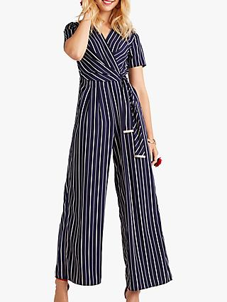 Yumi Wrap Stripe Jumpsuit, Navy