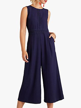 Yumi Lace Embroidered Jumpsuit, Navy