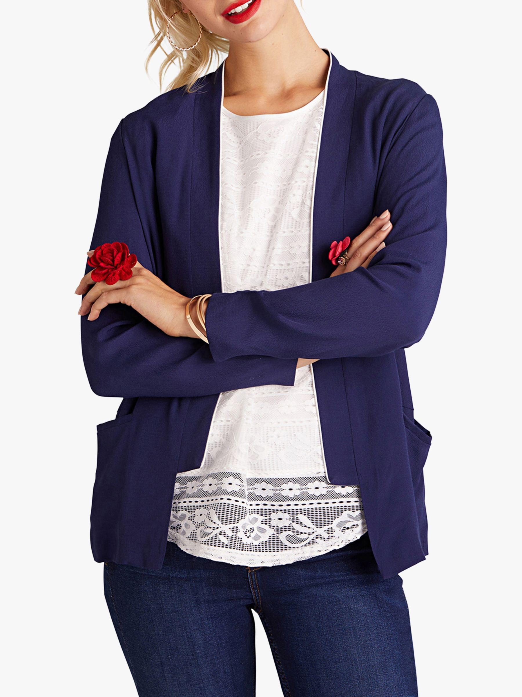 Yumi Yumi Piped Blazer Jacket, Navy