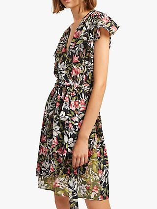 French Connection Floreta Wrap Dress, Black/Multi
