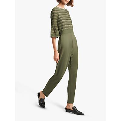 French Connection Vallis Cut Out Stripe Jersey Jumpsuit, Khaki