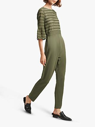 French Connection Vallis Cut Out Stripe Jersey Jumpsuit, Khaki