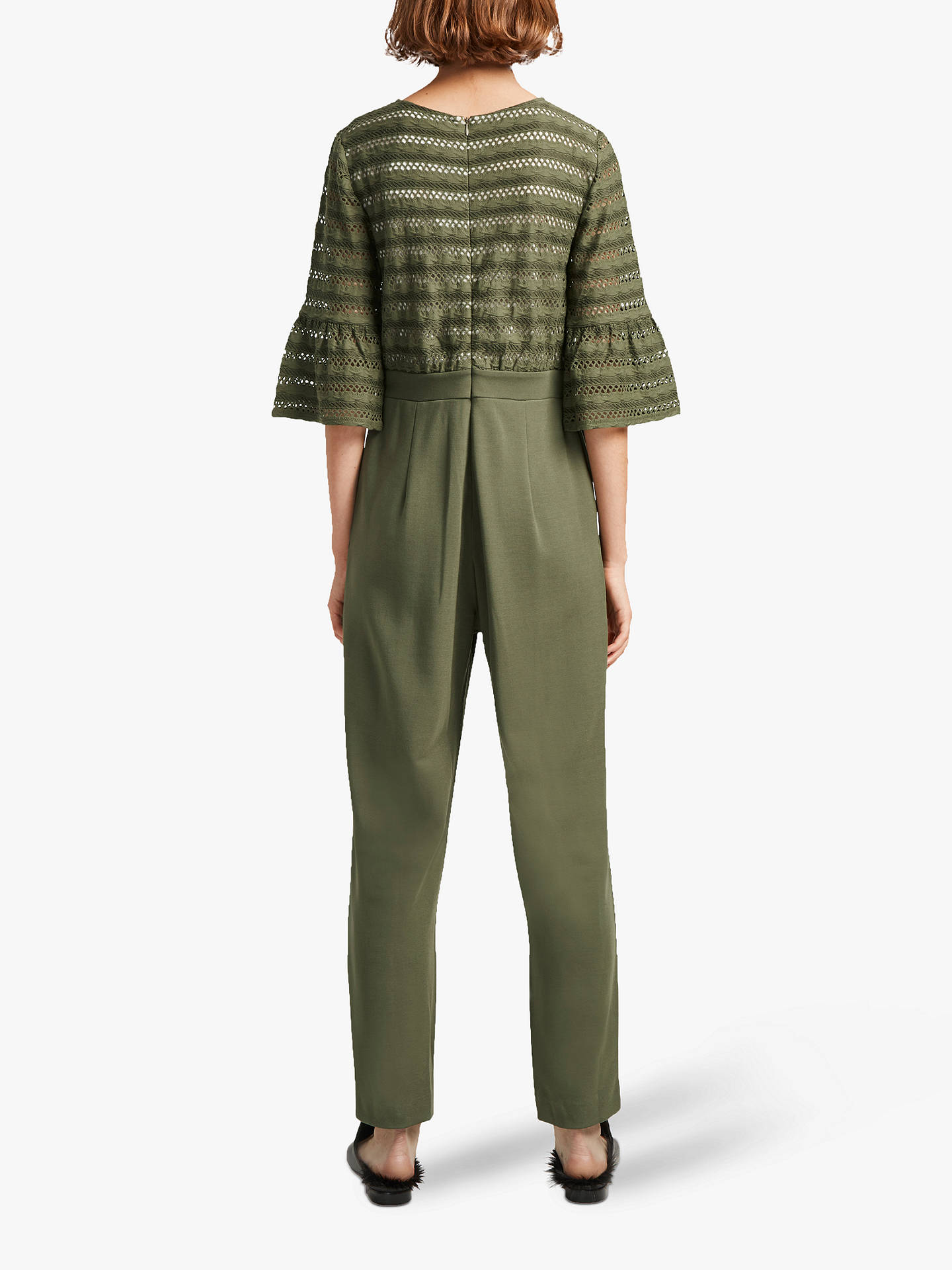 Buy French Connection Vallis Cut Out Stripe Jersey Jumpsuit, Khaki, 6 Online at johnlewis.com