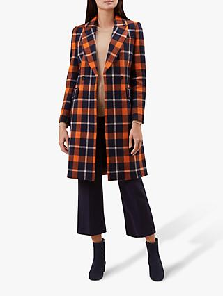 Hobbs Rosaline Check Coat, Rust/Navy