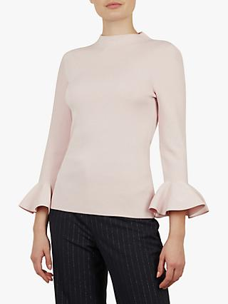 Ted Baker Brinlo Integral Frill Sleeve Jumper, Pink Light