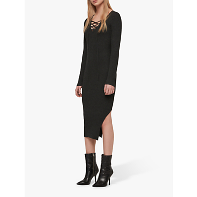 AllSaints Tamsin Midi Dress, Charcoal Grey