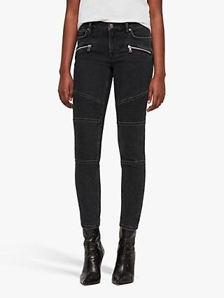 AllSaints Biker Zip Detail Cropped Jeans, Washed Black