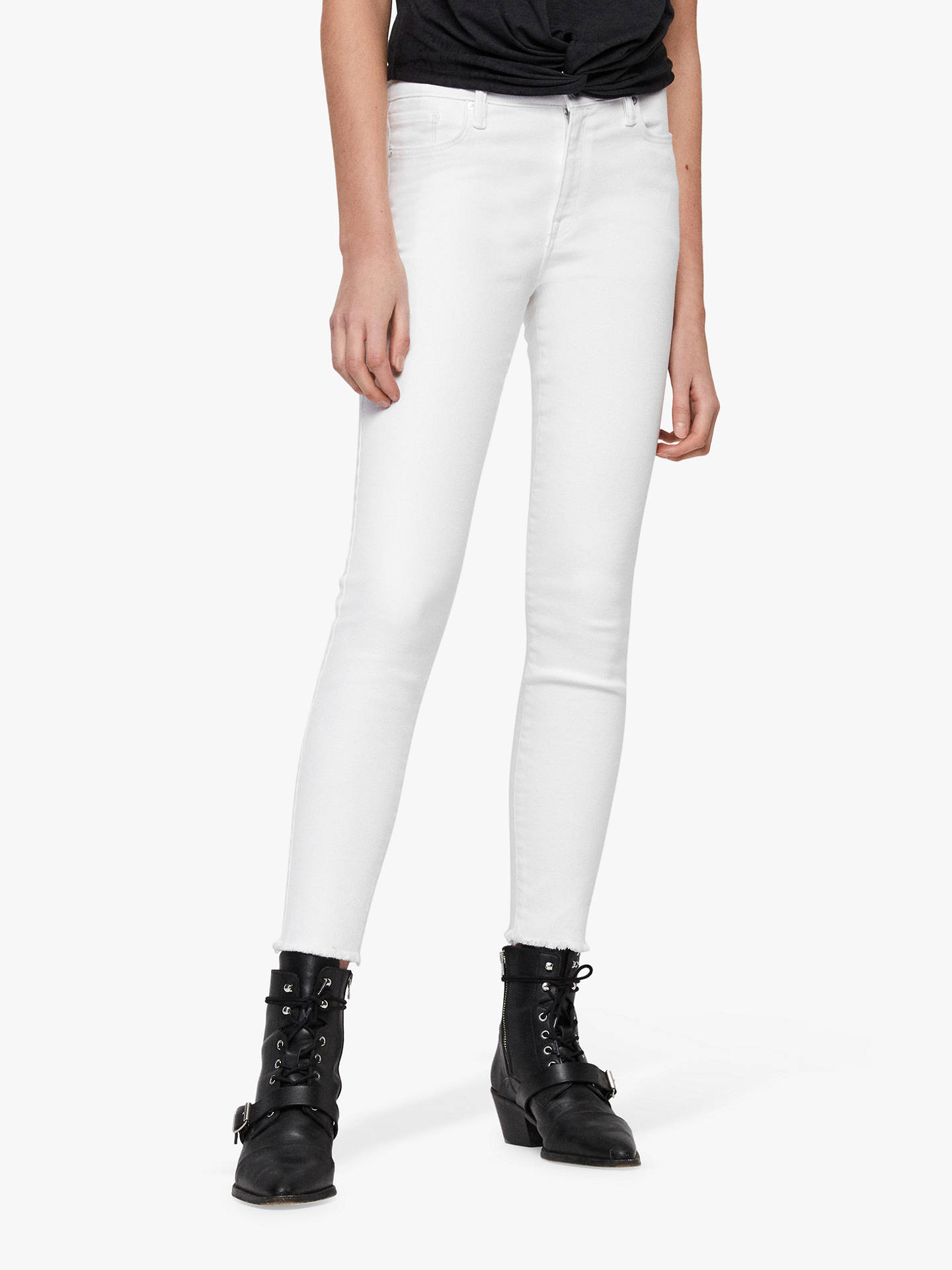 Buy AllSaints Grace Bi-Stretch Ankle Fray Jeans, White, 27 Online at johnlewis.com