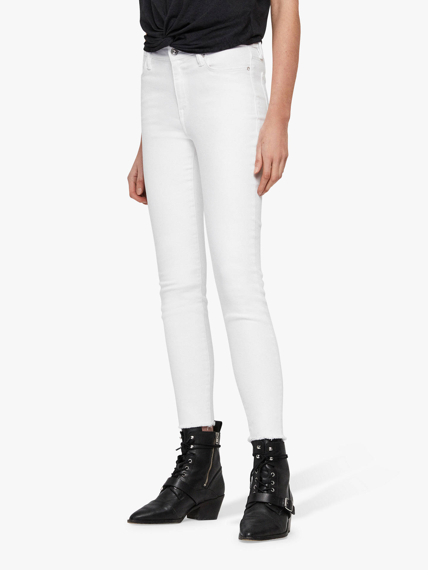 Buy AllSaints Grace Bi-Stretch Ankle Fray Jeans, White, 31 Online at johnlewis.com