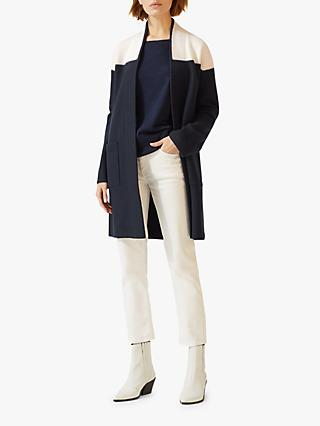 Jigsaw Boiled Wool Colour Block Cardigan, Navy
