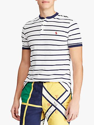 ed0e33268 Polo Ralph Lauren Henley Stripe T-Shirt, White/Newport Navy